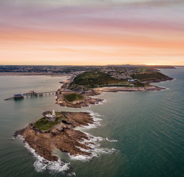 Aerial view of Mumbles at Sunset